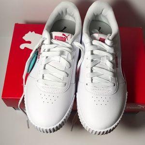 NWT Puma Carina Bright Rose & White Sneakers 7-1/2